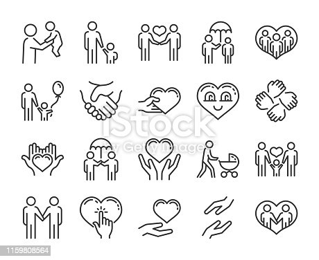 Care icon. Help and sympathy line icon set. Editable stroke.