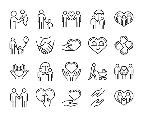 Care icon. Help and sympathy line icon set. Editable stroke. clipart