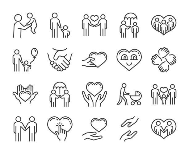 illustrazioni stock, clip art, cartoni animati e icone di tendenza di icona cura. set di icone della linea di aiuto e simpatia. tratto modificabile. - protezione