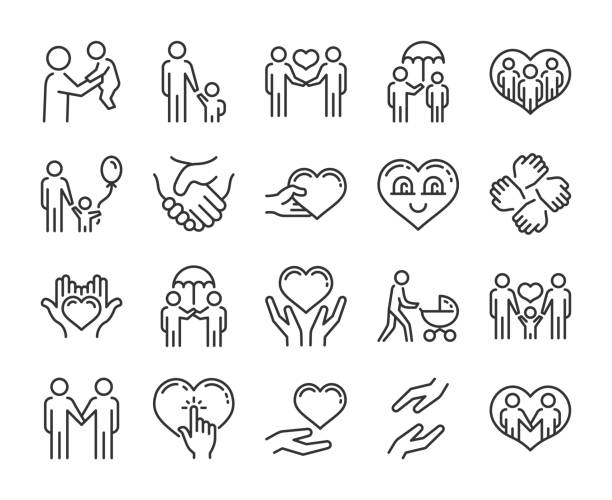 illustrazioni stock, clip art, cartoni animati e icone di tendenza di care icon. help and sympathy line icon set. editable stroke. - generazioni