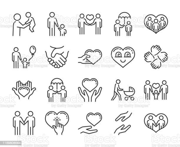 Care Icon Help And Sympathy Line Icon Set Editable Stroke Stock Illustration - Download Image Now