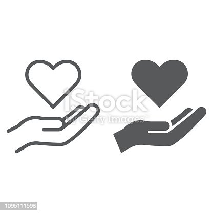 Care line and glyph icon, family and love, hand holding heart sign, vector graphics, a linear pattern on a white background, eps 10.
