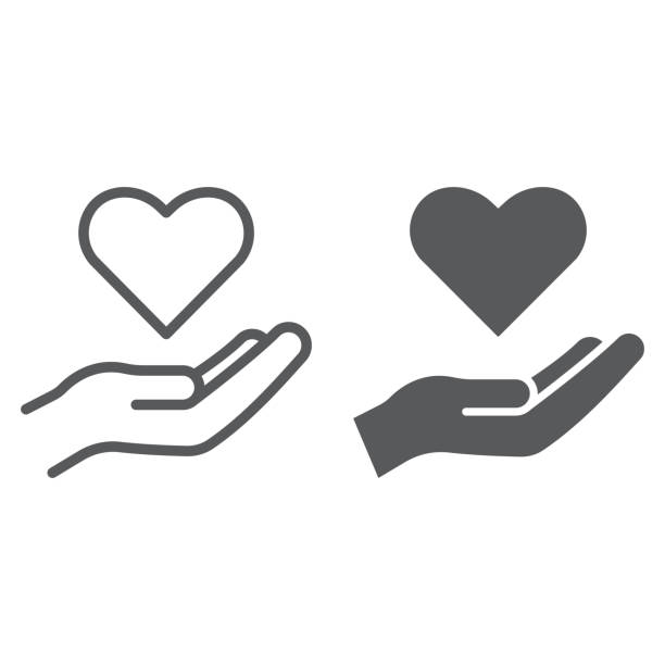 Care line and glyph icon, family and love, hand holding heart sign, vector graphics, a linear pattern on a white background. Care line and glyph icon, family and love, hand holding heart sign, vector graphics, a linear pattern on a white background, eps 10. a helping hand stock illustrations