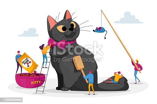 istock Care of Animals. People Spending Time with Pet. Tiny Male and Female Characters on Ladders Care of Huge Cat, Feed, Play 1266868666