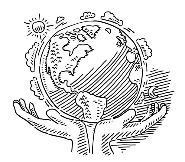 Care Of Planet Earth Symbol Drawing vector art illustration