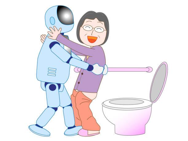 bildbanksillustrationer, clip art samt tecknat material och ikoner med vård robot - japanese bath woman