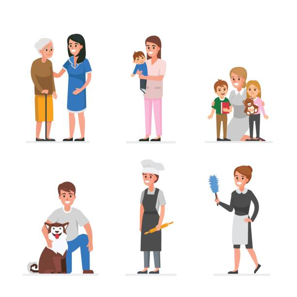care services - babysitter stock illustrations, clip art, cartoons, & icons
