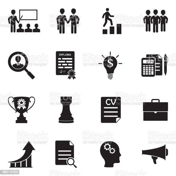 Karriär Och Business Ikoner Svart Platt Design Vektorillustration-vektorgrafik och fler bilder på Affärsstrategi
