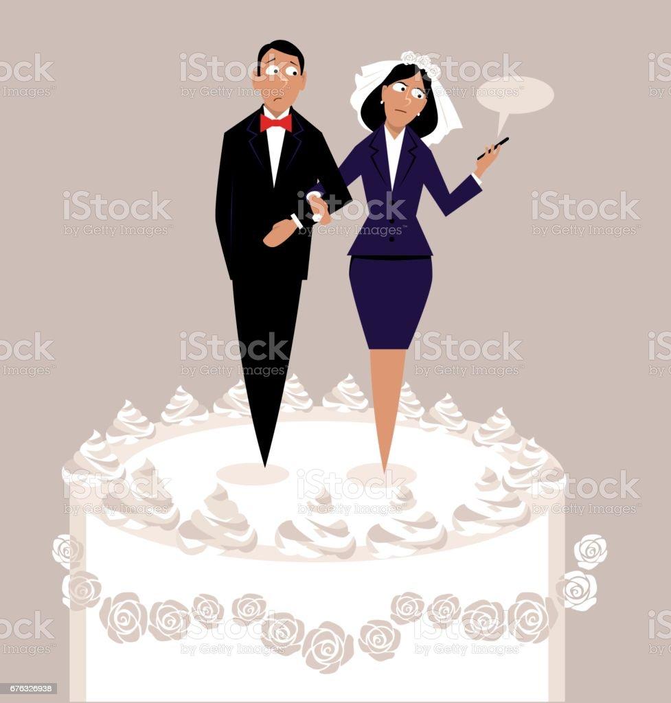 Career and marriage - ilustração de arte em vetor