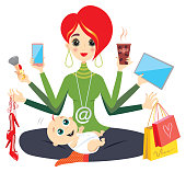 vector illustration, working mother, career and mother, technology and mom, business woman and mother