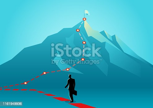 Business concept vector illustration of a businessman following the red lines which leading to the top of a mountain