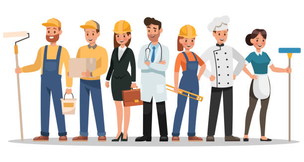 career characters design. Include painter, engineer, doctor and more. career characters design. Include painter, engineer, doctor and more. house painter stock illustrations