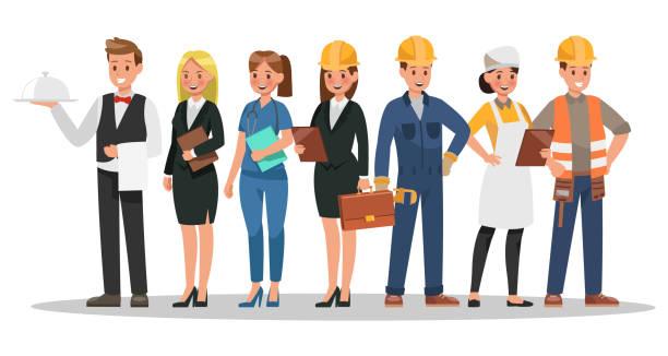 ilustraciones, imágenes clip art, dibujos animados e iconos de stock de diseño de personajes de la carrera. incluyen camarero, empresaria, ingeniero, médico - obrero de la construcción
