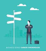 A Career Crossroads Character Vector Illustration