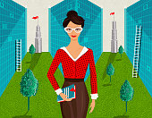 A retro style illustration that reflects the contemporary business woman and the decisions she takes in her career