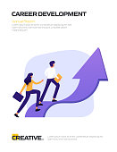 Career Development Concept Flat Design for Posters, Covers and Banners. Modern Flat Design Vector Illustration.