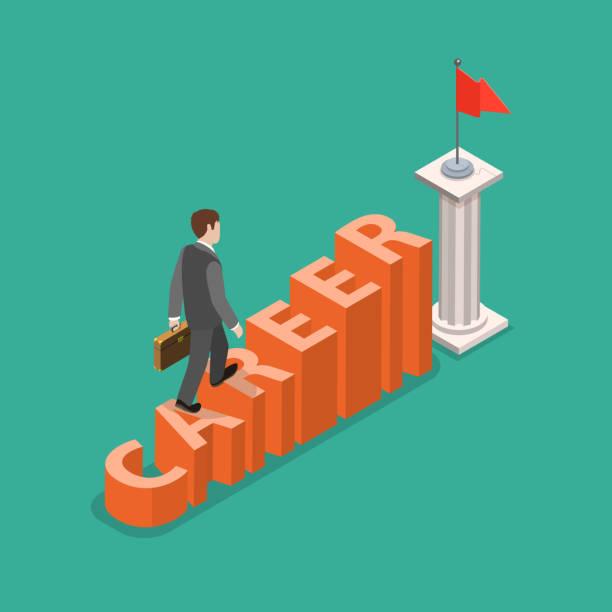 career development flat isometric vector concept - stopnie do sukcesu stock illustrations