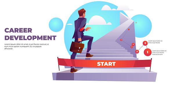 Career development infographics ladder to success.