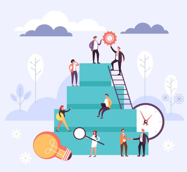 Career development office workers teamwork concept. Vector flat cartoon graphic design illustration vector art illustration