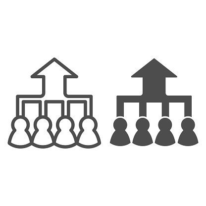 Career group growth line and solid icon. Hierarchy or flow chart, up arrow and team symbol, outline style pictogram on white background. Teamwork sign for mobile concept, web design. Vector graphics.