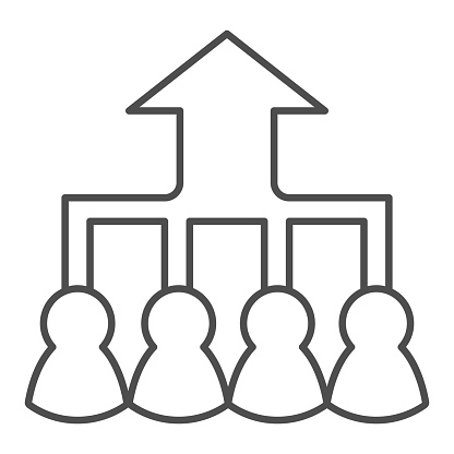 Career group growth thin line icon. Hierarchy or flow chart, up arrow and team symbol, outline style pictogram on white background. Teamwork sign for mobile concept, web design. Vector graphics.