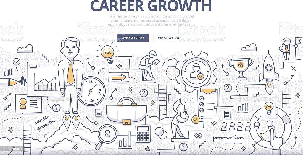 Career Growth Doodle Concept vector art illustration