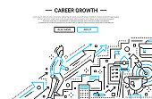Illustration of vector modern plain line flat design business composition and infographics elements with a male working his way up the career ladder