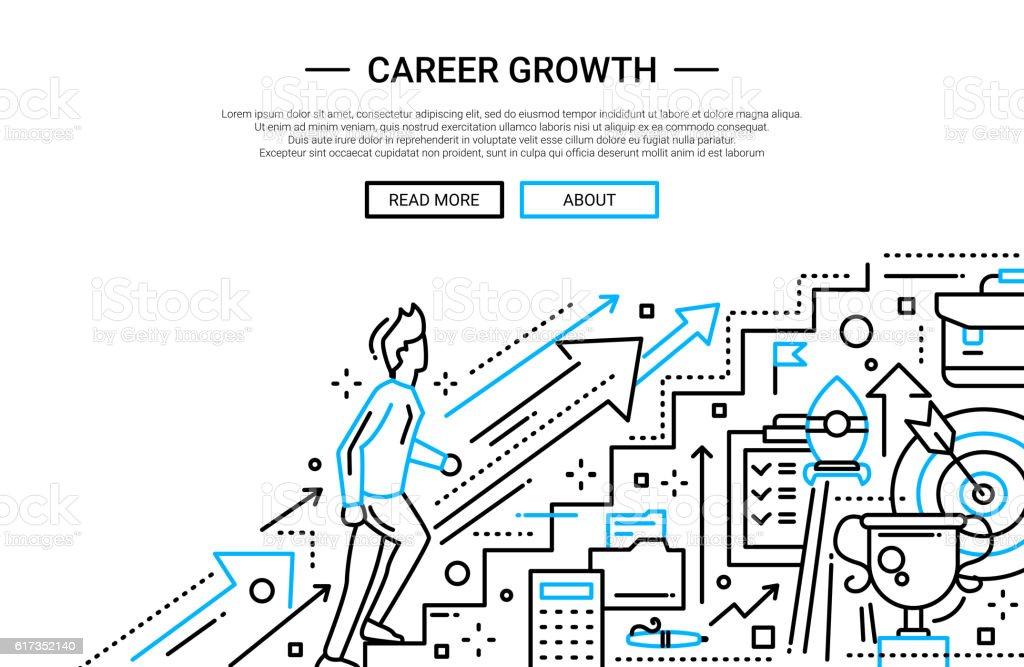 Career Growth line flat design website banner vector art illustration