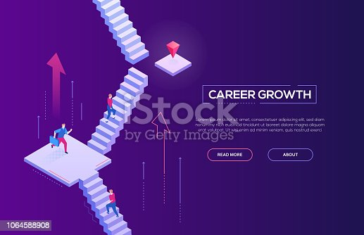 Career growth - modern isometric vector web banner on dark purple background with copy space for your text. High quality composition with business people running up the staircase to reach the goal