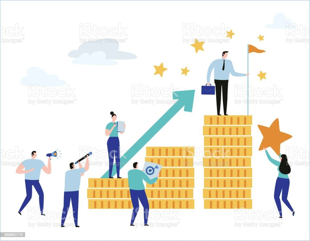 career growth vector illustration banner planning business concept flat  cartoon character design for web stock illustration - download image now -  istock  istock