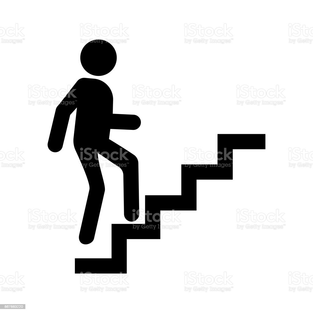 Career icon vector, man going up by stairs. vector art illustration