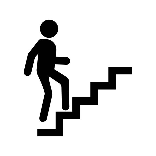 stockillustraties, clipart, cartoons en iconen met carrière pictogram vector, man door trap omhoog. - ladder
