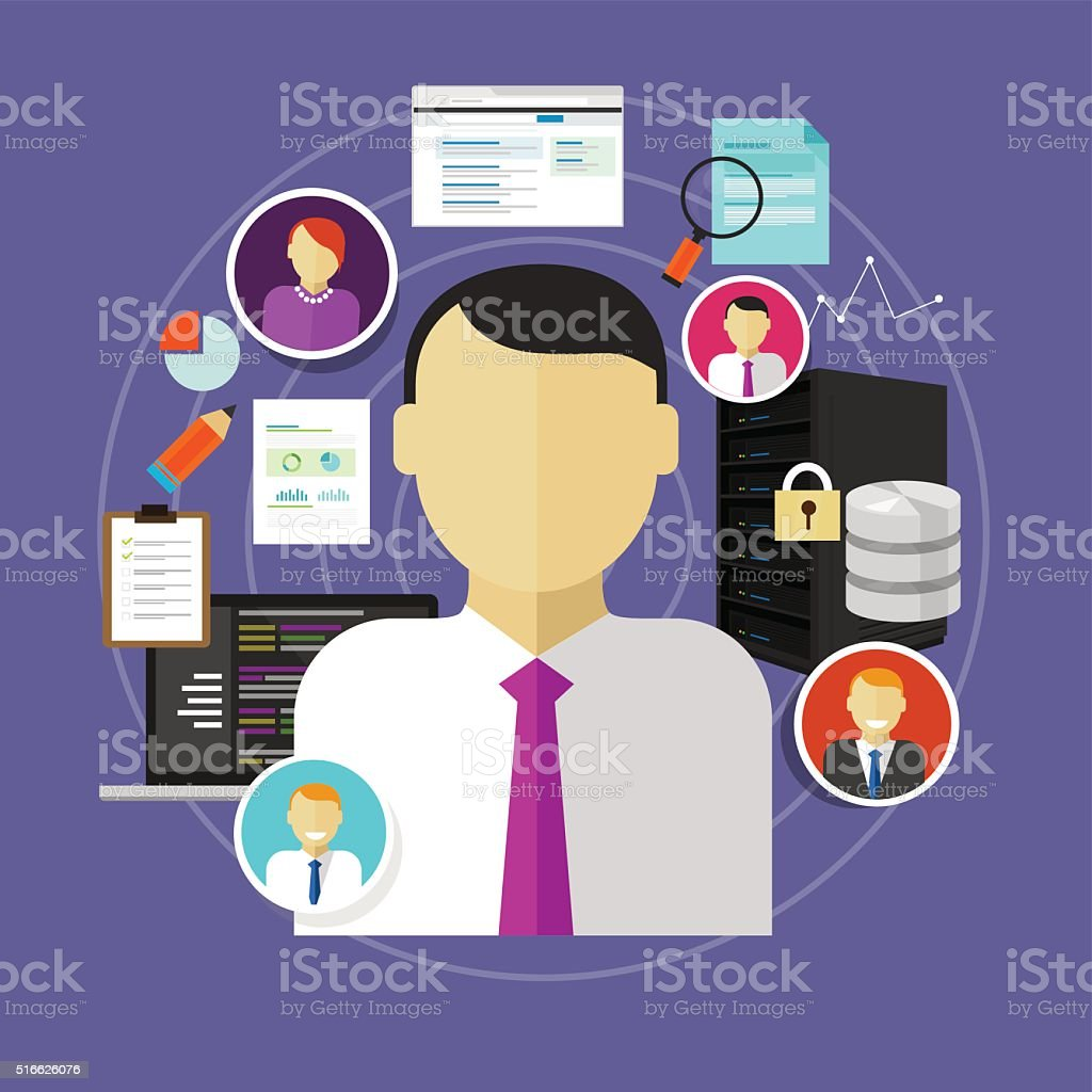 career in IT technology CIO chief information officer to administrator vector art illustration