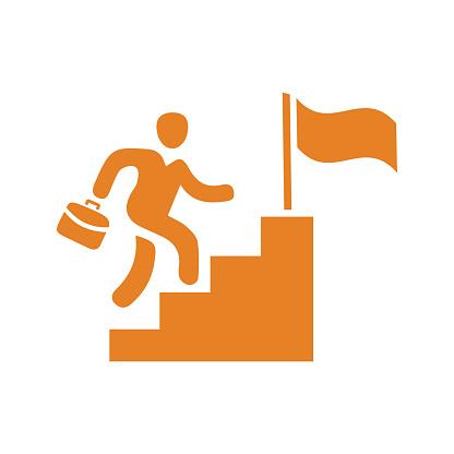 Career, job, success icon / orange vector