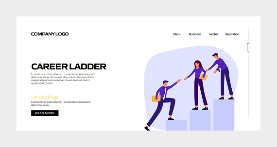Career Ladder Concept Vector Illustration for Landing Page Template, Website Banner, Advertisement and Marketing Material, Online Advertising, Business Presentation etc.