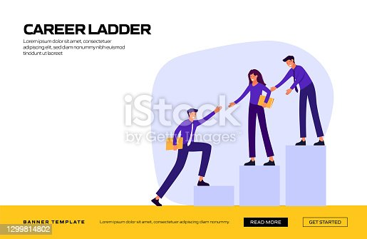 istock Career Ladder Concept Vector Illustration for Website Banner, Advertisement and Marketing Material, Online Advertising, Business Presentation etc. 1299814802