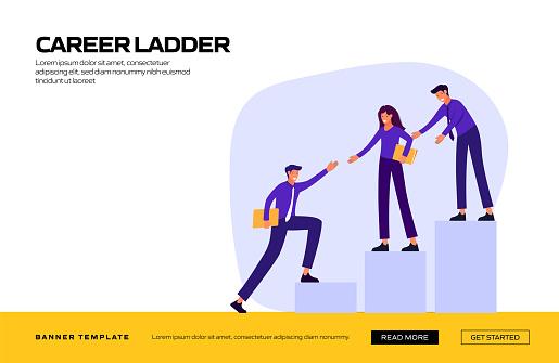 Career Ladder Concept Vector Illustration for Website Banner, Advertisement and Marketing Material, Online Advertising, Business Presentation etc.