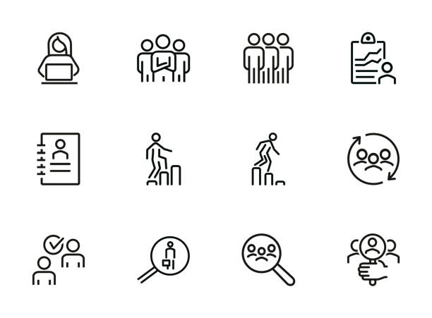 Career ladder line icon set Career ladder line icon set. Set of line icons on white background. Human resource concept. Employee, hiring, HR manager. Vector illustration can be used for topics like work, hiring, career qualification round stock illustrations