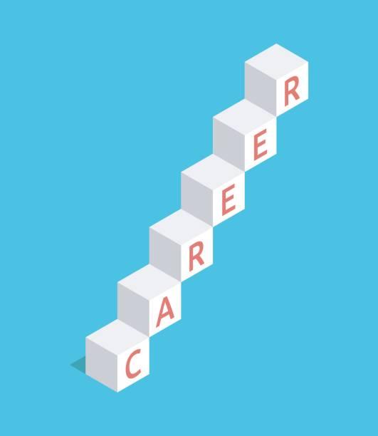 career ladder of cubes - stopnie do sukcesu stock illustrations