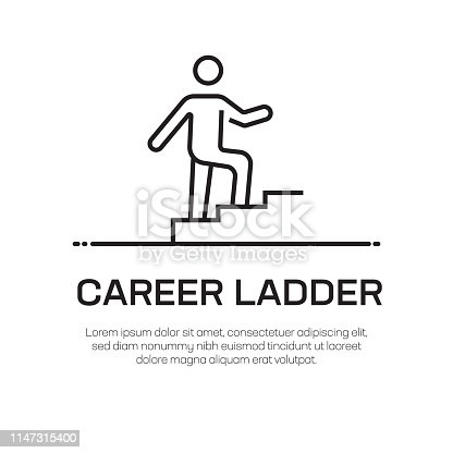 Career Ladder Vector Line Icon - Simple Thin Line Icon, Premium Quality Design Element