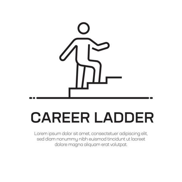 career ladder vector line icon - simple thin line icon, premium quality design element - schody stock illustrations