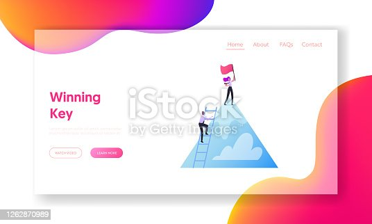 Successful Career, Leadership, Teamwork Landing Page Template. Characters Take New Height. Business Team Climbing Up of Mountain. Businesspeople on Top with Flag. Cartoon People Vector Illustration