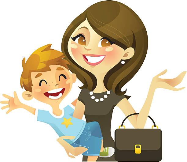 illustrations, cliparts, dessins animés et icônes de carrière maman (brunette - femmes actives