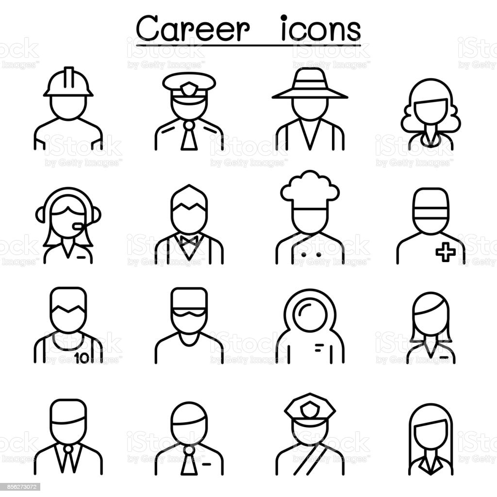 Career, Occupation, Profession icon set in thin line style vector art illustration