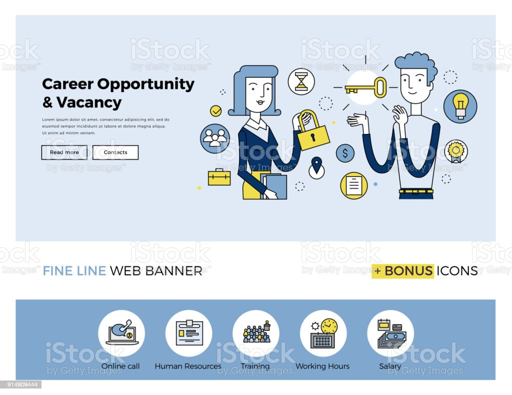 Career Opportunity Flat Line Banner Stock Illustration Download Image Now Istock