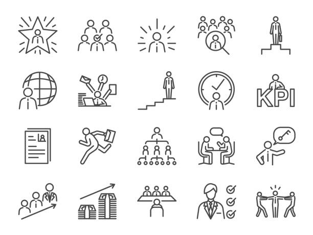 Career path icon set. Included the icons as newbie, job seeker, headhunter, headhunting, first jobber, rookie, promoted and more Career path icon set. Included the icons as newbie, job seeker, headhunter, headhunting, first jobber, rookie, promoted and more candidate stock illustrations