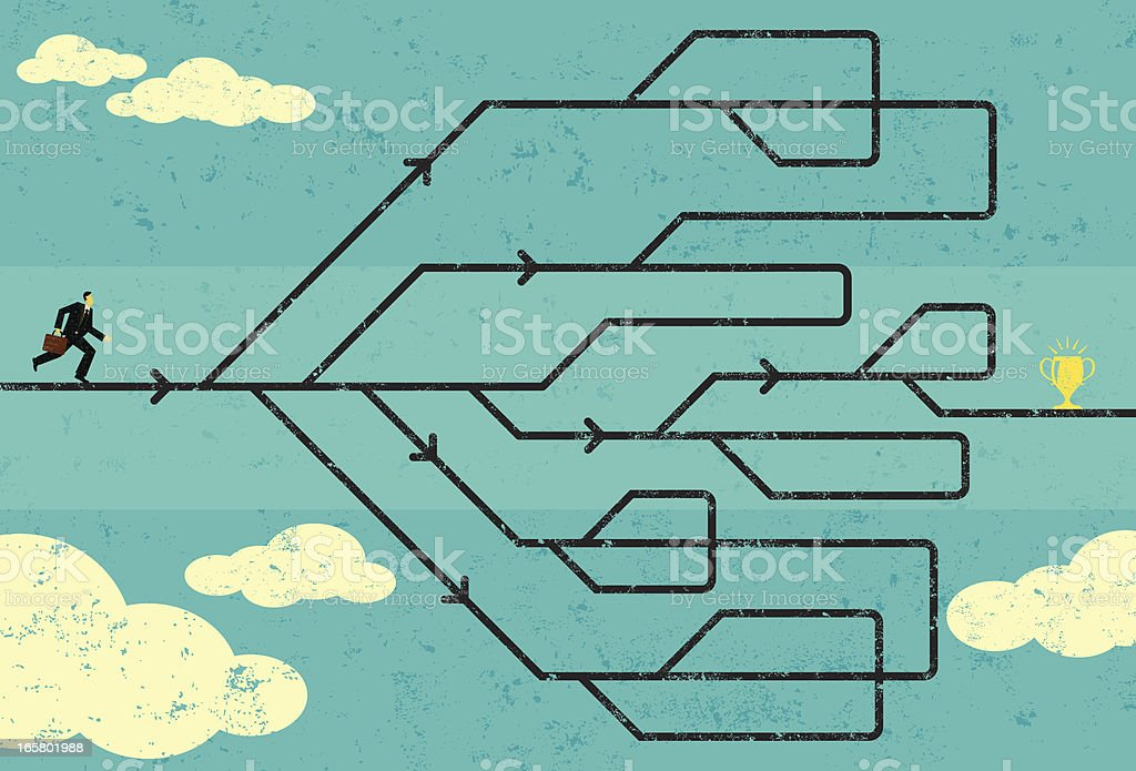 Career path to success vector art illustration