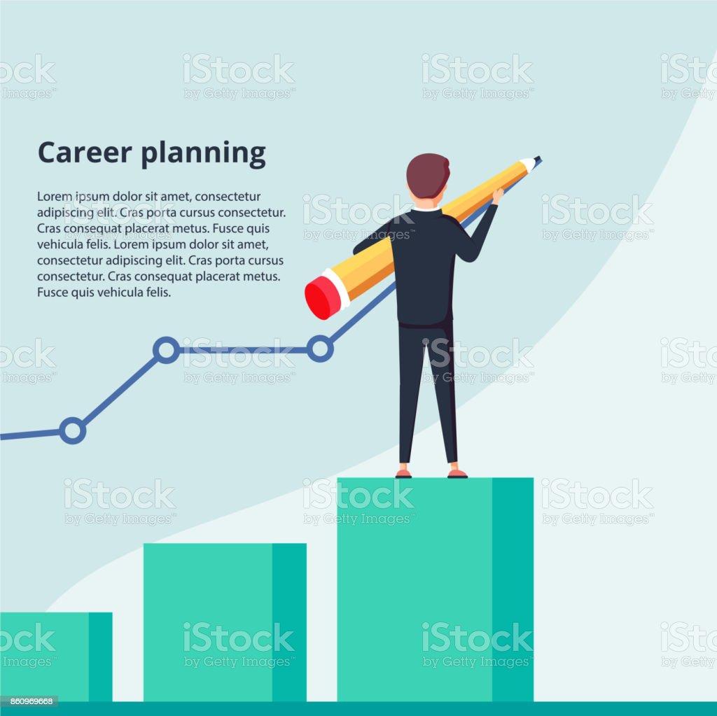 Planung der beruflichen Laufbahn. Geschäftsmann zeichnet Graphen Wachstum stehen an Treppe Schritte. Konzept der Karriereentwicklung. – Vektorgrafik