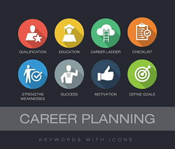 ilustraciones, imágenes clip art, dibujos animados e iconos de stock de career planning keywords with icons - consejero de la escuela