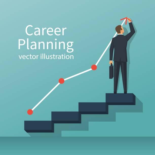 career planning vector - stopnie do sukcesu stock illustrations